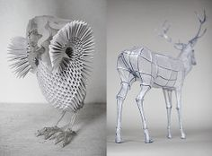 paper and wire works by Polly Verity.