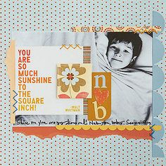 """Design by Lisa McGarvey Build a boy scrapbook page on a traditional blue background. Work in bold orange accents to frame the title and photo. Editor's Tip: Convert a photo to black-and-white if it doesn't match the color scheme you've chosen.  SOURCES: Scrapbook kit: Pebbles, Inc. """"Loverly."""" Cardstock: Bazzill Basics Paper. Pen: American Crafts. Embroidery floss: DMC corp. Greeting card: Quotable Cards./"""