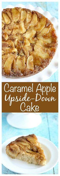 Caramel Apple Upside-Down Cake (Apple Recipes Dessert) Apple Dessert Recipes, Holiday Desserts, Just Desserts, Delicious Desserts, Cake Recipes, Amazing Dessert Recipes, Easy Apple Desserts, Apple Baking Recipes, Baked Apple Dessert