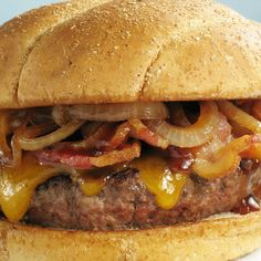 For the ultimate in smoky flavor, choose applewood smoked bacon to top the burgers.