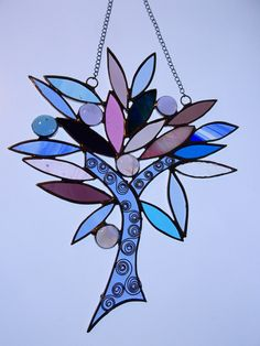 Stained Glass Tree Sun Catcher, Mother's Day Hanging Suncatcher,Window or Wall Art Perfect Unique Unusual Gift Shades of Pink, Purple & Blue by WylloWytch on Etsy