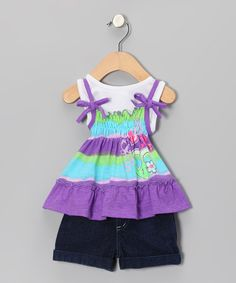 Take a look at this Purple Floral Layered Top & Denim Shorts - Infant by Young Hearts on #zulily today!