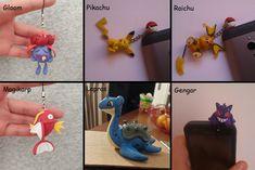 Pokemon charm, dust plug, pikachu, magikarp, raichu, gloom, lapras, gengar  #pokemon #pikachu #raichu #magikarp #lapras #gengar #gloom #claycrafts #handmade #polymerclay #pokemoncharm Pikachu, Pokemon, Dust Plug, Plugs, Kawaii, Charmed, Phone, Anime, Telephone