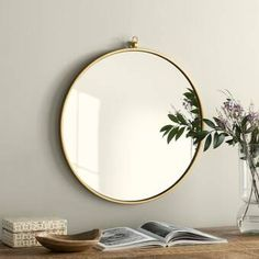 The Best Furniture and Decor Essentials to Buy From Joss & Main Circular Mirror, Round Wall Mirror, Round Mirrors, Large Circle Mirror, Metal Mirror, Classic Bathroom Mirrors, Mirror With Hooks, Diy Home, Home Decor