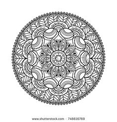 Vector mandala isolated on white background. Ornament card with mandala in black color. Motif Oriental, Oriental Pattern, Mandala Coloring, Colouring Pages, Coloring Books, Mandala Design, Mandala Art, Trippy Drawings, Drawing Sketches