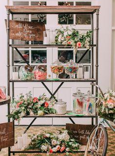wedding candy bar - photo by Desi Baytan http://ruffledblog.com/modern-rustic-elegance-wedding