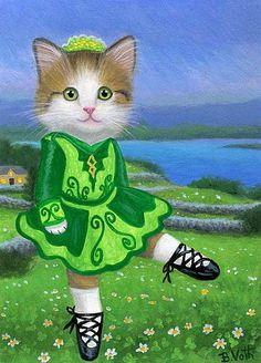 Kitten cat Irish dancer St Patrick's Day landscape original aceo painting art #Miniature