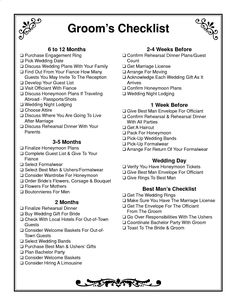 Groom checklist - Wedding checklist