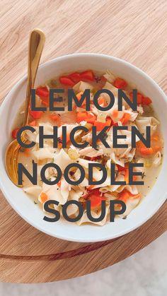 Kale Chip Recipes, Soup Recipes, Chicken Recipes, Dinner Recipes, Healthy Recipes, Anti Inflammatory Recipes, Chicken Noodle Soup, Lemon Chicken, Shredded Chicken