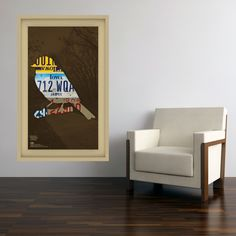 Iowa License Plate Wall Decal and a chair