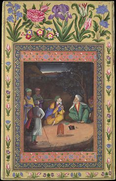 """A Discussion between a Mullah and an Old Man"", from the Davis Album Painting by Muhammad Zaman  (active 1649–1700) Date: dated 1664–65 Geography: Iran, Isfahan Medium: Ink, opaque watercolor, and gold on paper Dimensions: 13.12 in. high 8.25 in. wide (33.3 cm high 21 cm wide) Metropolitasn Museum of Art 30.95.174.2"