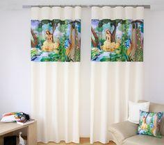 Bielo - zelené závesy na okná rozprávková princezná Curtains, Shower, Prints, Home Decor, Rain Shower Heads, Blinds, Decoration Home, Room Decor, Showers