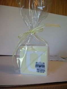 Custom Made Baby Shower Centerpiece Decoration Nursery Wood Blocks Yellow and Grey. $6.00, via Etsy.