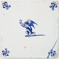 Antique Delft tile with Cupid blowing a horn, 17th century
