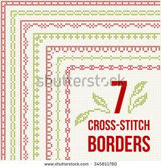 Set of cross stitch pattern for thin borders. Geometric frames for cross-stitch embroidery in classic style. Red and green, vector illustration.
