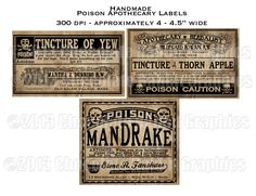 SALE Vintage Poison Apothecary Halloween Witch Potion Labels Digital Download Collage Sheet Various Poisons. $2.75, via Etsy.