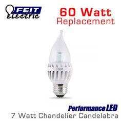 FEIT PerformanceLED Chandelier Candelabra Omni-Directional - 7 Watt - 500 Lumens - 60 Watt Equal - Medium E26 Base
