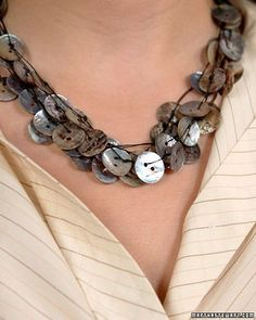 Mother of Pearl Button Necklace: