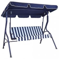 2 Seater Garden Swing Chair Hammock Bench Outdoor Patio Metal Bench Canopy Blue