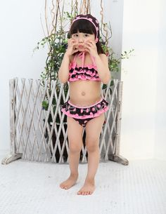 3PCs Girls Kids Polka Dots Swimsuit Swimwear Bikini Set Swimming Costume SZ 1-6
