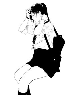 Anime Art Girl, Manga Girl, Manga Anime, Character Illustration, Illustration Art, Fille Anime Cool, Poses References, Black And White Drawing, Anime Sketch