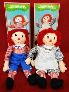 """1960's RAGGEDY ANN & ANDY 35"""" TALL Dolls w/ Boxes Knickerbocker Toy Co. Vintage"""