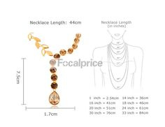 Necklace length chart in inches and cm