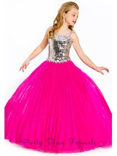 Because your girl deserves to channel this magical pageant dress 1519 by Perfect Angels that features a metallic sequin bodice enhanced with beautiful beadwork throughout the shoulder straps and the waistline. A fully pleated skirt made of Liquid Organza fabric makes this ball gown absolutely stunning. We carry all you need to jazz up this 2013 masterpiece. Available in Fuchsia and Turquoise.