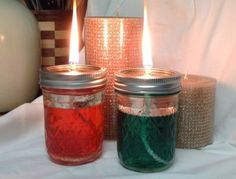 Red & Green Lit DIY Mason Jar Oil Lamps