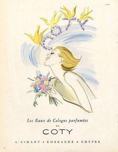 Coty Perfumes 1950 Bosc, Eau de Cologne Vintage advert Perfumes illustrated by Fernando Bosc | Hprints.com