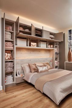 Bedroom wall: Over Bed Storage in 2019 Fitted bedrooms, Fitted bedroom furniture, Small bedroom storage Bedroom Diy, Bedroom Wardrobe, Bedroom Makeover, Small Spaces, Small Master Bedroom, Bedroom Interior, Home, Home Bedroom, Luxurious Bedrooms