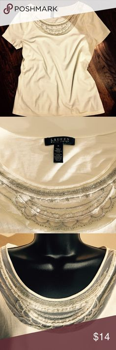 Ralph Lauren T-shirt Top Size M Very Pretty Ralph Lauren T-shirt Top. Pretty ivory color with mesh and beading embellishment at neckline. 100% Cotton. Excellent Condition. This little top is much prettier than the pictures are able to portray. Size Medium Ralph Lauren Tops Tees - Short Sleeve
