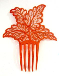 Fine Antique Art Deco Coral Colored Acanthus Leaf Hair Comb #HairComb