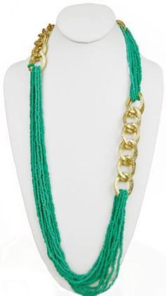 Turq Gold Chain Necklace- LOVE!