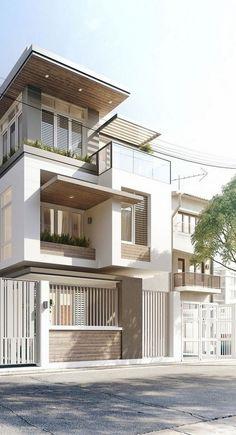Exciting Modern Adobe House Exterior Design Ideas - Page 2 of 30 3 Storey House Design, Duplex House Design, House Front Design, Small House Design, Dream Home Design, Cool House Designs, Modern Exterior House Designs, Modern House Design, Exterior Design