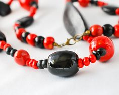 Beaded Necklaces  Red Necklace  Black Necklace  Red and Black  Black and Red  Kazuri Necklace Kazuri Bead  Statement Necklace  Fair Trade  Fair Trade Necklace  Fair Trade Jewellery  African Jewelry  African Necklace Upcycled Jewelry thecoastaldesert The Coastal Desert handmade