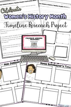 Women's History Month   Celebrate famous women in history and current events with this timeline research project. Students will follow links to navigate websites to learn more about a woman and then complete a timeline of her achievements.