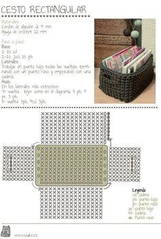 maybe a matching crocheted storage basket (from zpagetti type tshirt yarn) to match a grey crochet bath mat . Crochet Basket Tutorial, Crochet Box, Crochet Basket Pattern, Crochet Diagram, Crochet Purses, Love Crochet, Crochet Crafts, Crochet Projects, Crochet Patterns