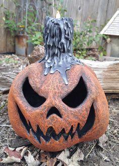 Primitive Folk Art Halloween Pumpkin Jack o Lantern SCARY Paper Mache candle JOL Haunted Party Decor Decoration *READY to ship*