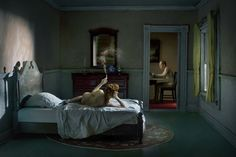 """Drawing inspiration from the paintings of Edward Hopper, Richard Tuschman's series """"Hopper Meditations""""evokes the moody color palettes, cityscape backdrops, and solitary female characters that are signature elements in Hopper's paintings. Narrative Photography, Cinematic Photography, Fine Art Photography, Conceptual Photography, Inspiring Photography, Contemporary Photography, Editorial Photography, Photoshop, Lightroom"""
