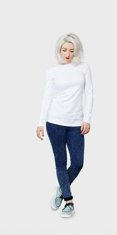 Women's white long sleeved boat neck t-shirt | front view | The White T-Shirt Co