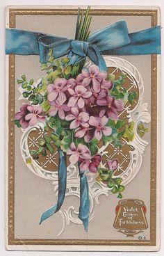 """Antique Violets Greeting Postcard """"Emblem of Faithfulness"""" postmarked 1913"""