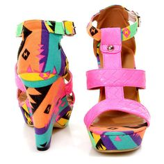 Fiebiger Bubble Gum Neon Pink Print T-Strap Wedge Sandals ($79) ❤ liked on Polyvore