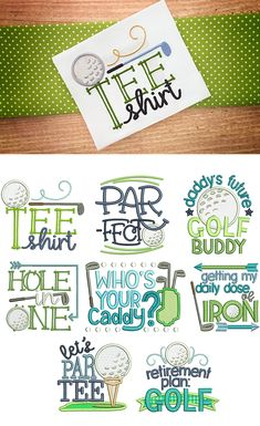 Golf Time Designs by JuJu Exclusive 8 fun and whimsical golf word art designs. Please note some designs may contain applique components 4 sizes included: and Applique Designs, Machine Embroidery Designs, Embroidery Applique, Embroidery Patterns, Golf Quilt, Golf Logos, Golf Crafts, Mug Rug Patterns, Golf Art
