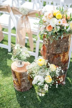 Rustic and pretty ceremony decor: http://www.stylemepretty.com/washington-weddings/2014/09/19/yellow-and-green-summer-chambers-bay-wedding/   Photography: Blue Rose - http://www.bluerosepictures.com/