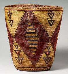 Carrying basket, attributed to Klikitat tribe,Washington State, late nineteenth or early twentieth century. | Cedar root, dyed wool, field horsetail (equisetum arvense)