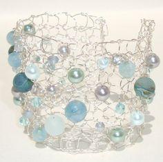 Druzy Bracelet Aquamarine Agate Bracelet Wire Knit Jewelry
