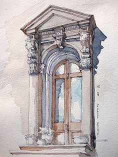 https://flic.kr/p/9voWi9 | Italianate Doorway | Freehand sketch of a Brownstone entry in Park Slope, Brooklyn. Ink and watercolor on location.