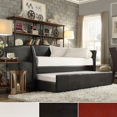 TRIBECCA HOME Deco Dark Brown Faux Leather Daybed with Trundle | Overstock.com Shopping - The Best Deals on Beds