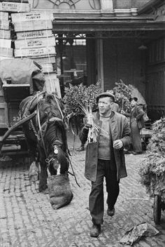A trader at Covent Garden Market, London, March Original publication: Picture Post - 4993 - Spring Comes To Covent Garden - pub. March 1950 (Photo by Bert Hardy/Picture Post/Hulton Archive/Getty Images) Vintage London, Old London, Fine Art Photography, Street Photography, London Market, London History, British History, Nostalgic Images, London Today